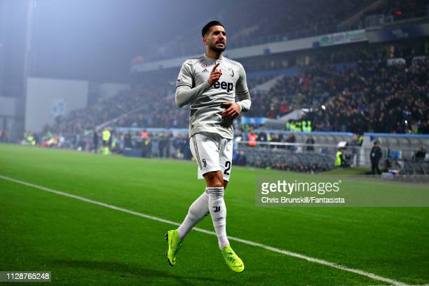 Emre Can of Juventus celebrates scoring his sides third goal during the Serie A match between US Sassuolo and Juventus at Mapei Stadium Citta' del...