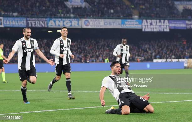 Emre Can of Juventus celebrates with teammates after scoring the 0-2 goal during the Serie A match between SSC Napoli and Juventus at Stadio San...