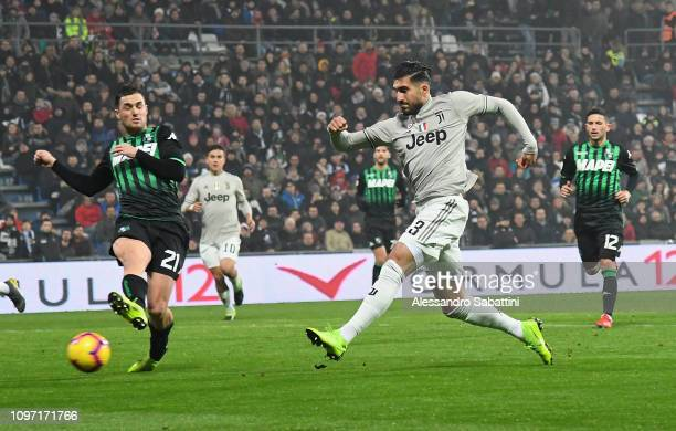 Emre Can of Juventus scores his team o3 goal during the Serie A match between US Sassuolo and Juventus at Mapei Stadium Citta' del Tricolore on...