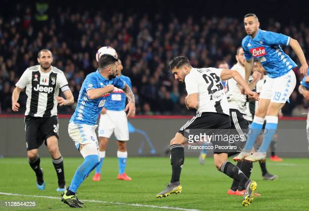 Emre Can of Juventus scores the 02 goal during the Serie A match between SSC Napoli and Juventus at Stadio San Paolo on March 3 2019 in Naples Italy