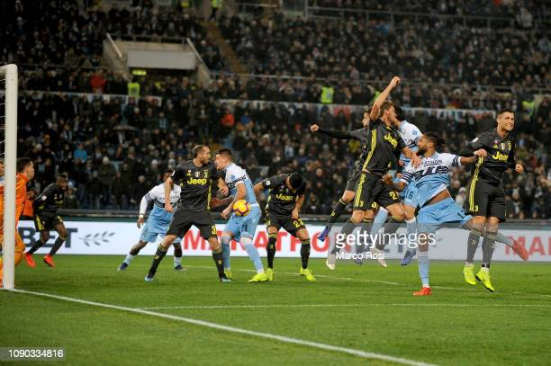 Emre Can of Juventus scores the opening owngoal for SS Lazio during the Serie A match between SS Lazio and Juventus at Stadio Olimpico on January 27...