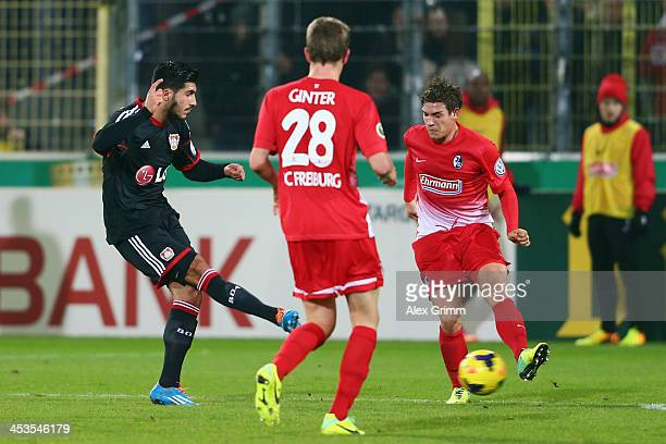 Emre Can of Leverkusen scores his team's second goal during the German Cup Round of 16 match between SC Freiburg and Bayer Leverkusen at MAGE SOLAR...