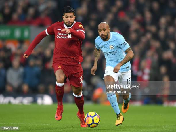 Emre Can of Liverpool and Fabian Delph of Manchester City in action during the Premier League match between Liverpool and Manchester City at Anfield...