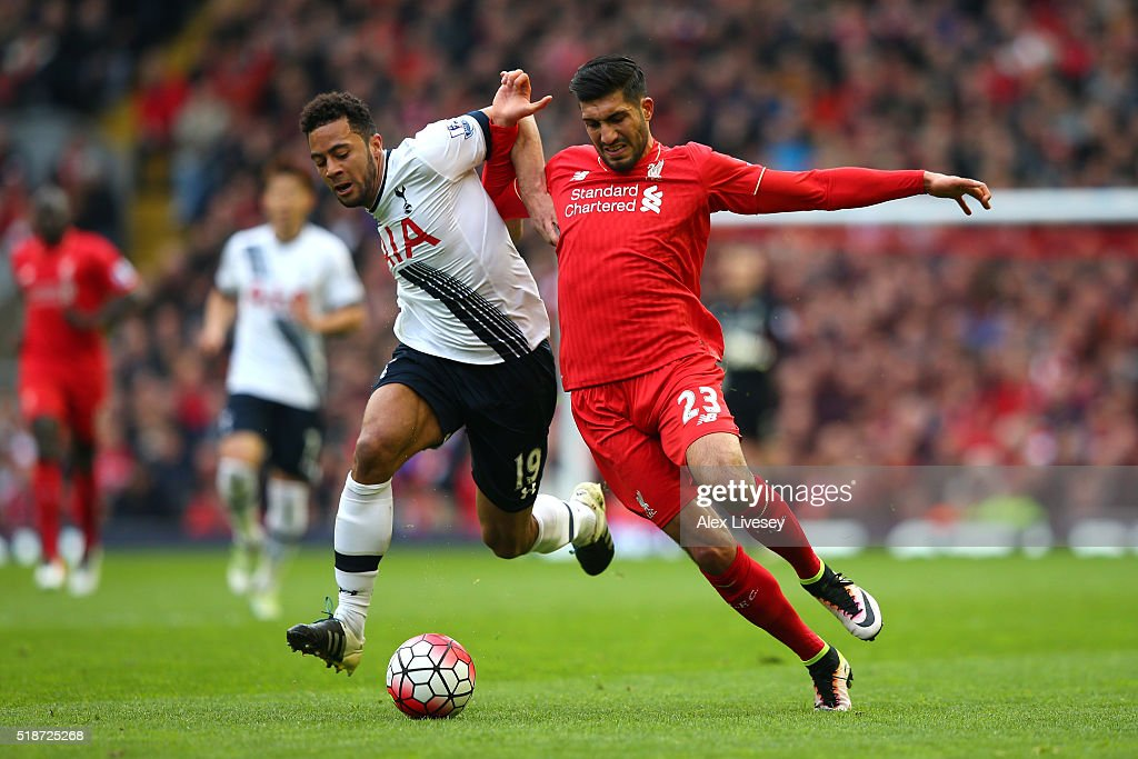 Emre Can of Liverpool and Mousa Dembele of Tottenham Hotspur compete for the ball during the Barclays Premier League match between Liverpool and Tottenham Hotspur at Anfield on April 2, 2016 in Liverpool, England.