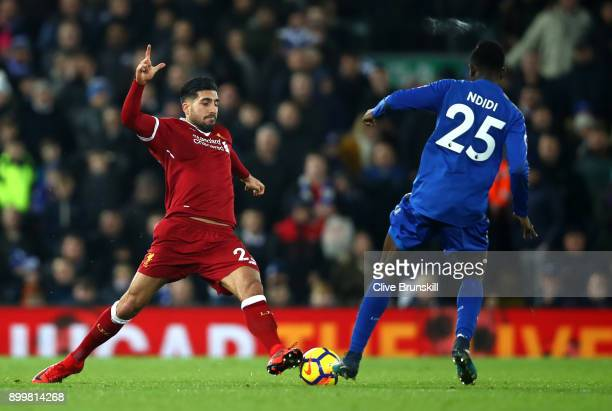 Emre Can of Liverpool and Wilfred Ndidi of Leicester City battle for possession during the Premier League match between Liverpool and Leicester City...