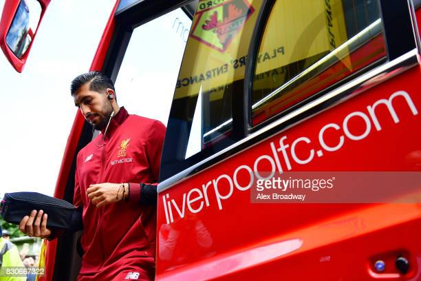 Emre Can of Liverpool arrives at the stadium prior to the Premier League match between Watford and Liverpool at Vicarage Road on August 12 2017 in...
