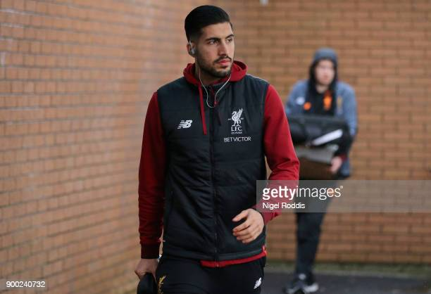 Emre Can of Liverpool arrives at the stadium prior to the Premier League match between Burnley and Liverpool at Turf Moor on January 1 2018 in...