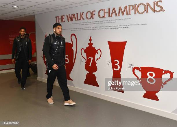 Emre Can of Liverpool arrives before the Premier League match between Liverpool and AFC Bournemouth at Anfield on April 5 2017 in Liverpool England