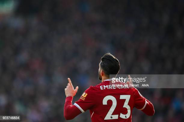 Emre Can of Liverpool celebrates after scoring a goal to make it 10 during the Premier League match between Liverpool and West Ham United at Anfield...