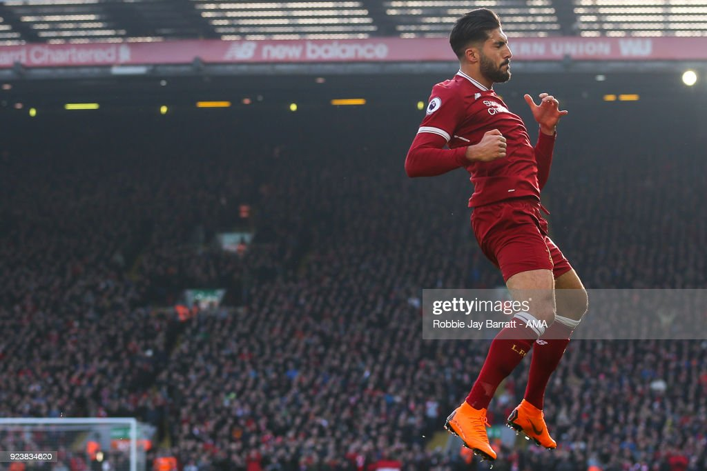 Emre Can of Liverpool celebrates after scoring a goal to make it 1-0 during the Premier League match between Liverpool and West Ham United at Anfield on February 24, 2018 in Liverpool, England.