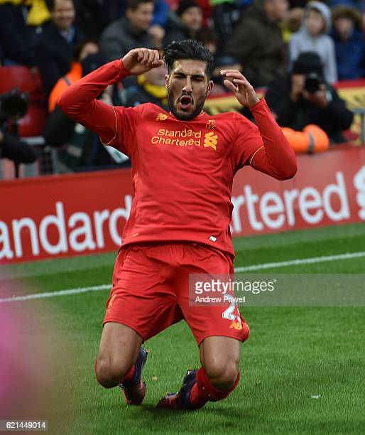 Emre Can of Liverpool celebrates after scoring during the Premier League match between Liverpool and Watford at Anfield on November 6 2016 in...
