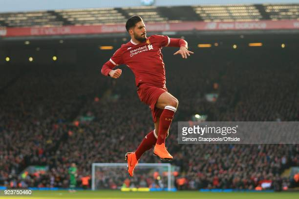 Emre Can of Liverpool celebrates after scoring their 1st goal during the Premier League match between Liverpool and West Ham United at Anfield on...