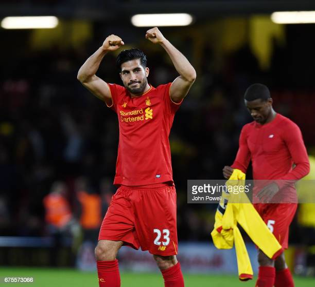 Emre Can of Liverpool celebrates after winning at the end of the Premier League match between Watford and Liverpool at Vicarage Road on May 1 2017 in...