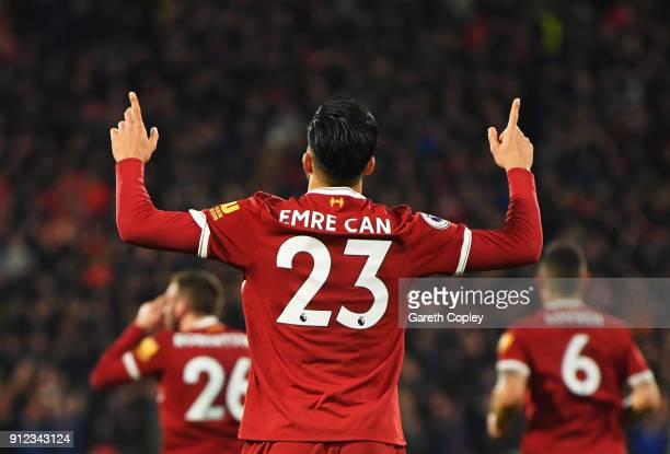 Emre Can of Liverpool celebrates as he scores their first goal during the Premier League match between Huddersfield Town and Liverpool at John...