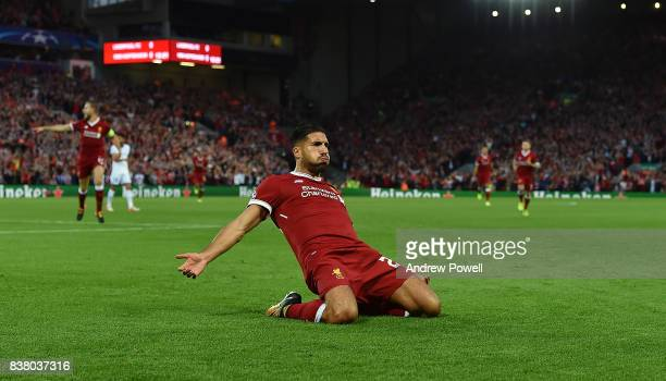 Emre Can of Liverpool celebrates during the UEFA Champions League Qualifying PlayOffs round second leg match between Liverpool FC and 1899 Hoffenheim...