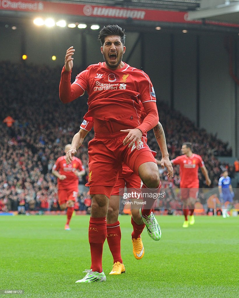 Emre Can of Liverpool celebrates his goal to make it 1-0 during the Barclays Premier League match between Liverpool and Chelsea at Anfield on November 8, 2014 in Liverpool, England.