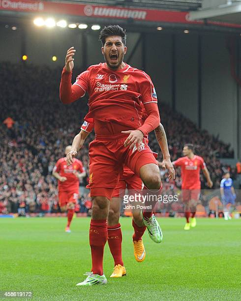 Emre Can of Liverpool celebrates his goal to make it 10 during the Barclays Premier League match between Liverpool and Chelsea at Anfield on November...