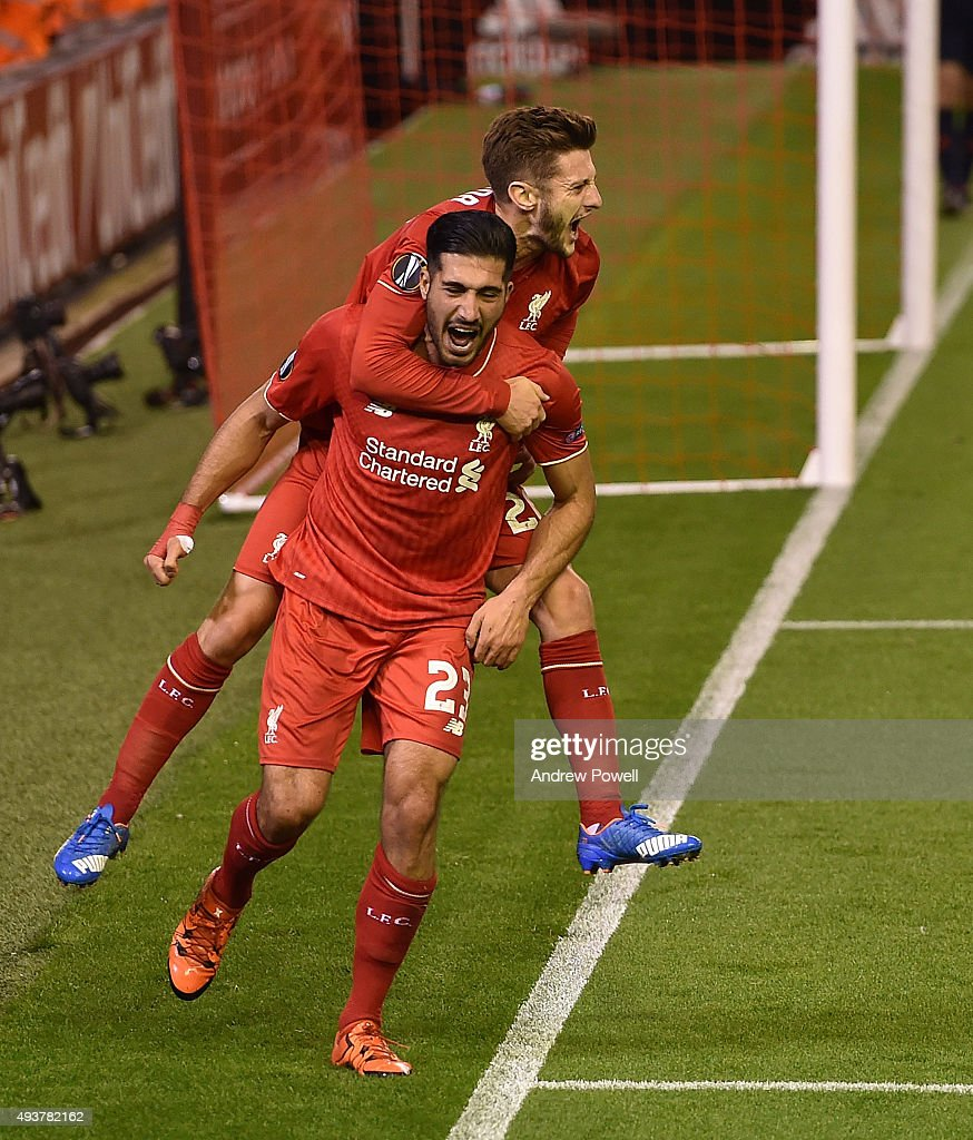 Emre Can of Liverpool celebrates his goal with Adam Lallana during the UEFA Europa League match between Liverpool FC and FC Rubin Kazan on October 22, 2015 in Liverpool, United Kingdom.