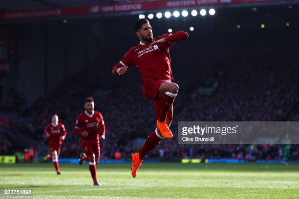 Emre Can of Liverpool celebrates scoring his side's first goal during the Premier League match between Liverpool and West Ham United at Anfield on...