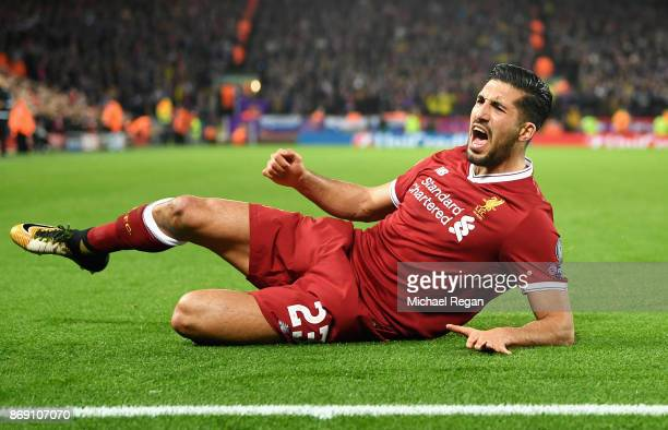 Emre Can of Liverpool celebrates scoring his sides second goal during the UEFA Champions League group E match between Liverpool FC and NK Maribor at...