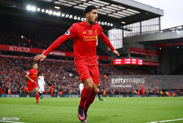 Emre Can of Liverpool celebrates scoring his sides third goal during the Premier League match between Liverpool and Watford at Anfield on November 6...