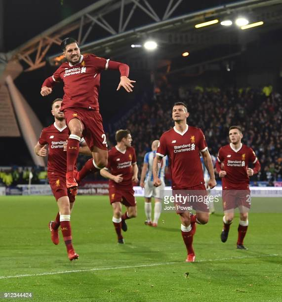 Emre Can of Liverpool Celebrates the opener For Liverpool during the Premier League match between Huddersfield Town and Liverpool at John Smith's...
