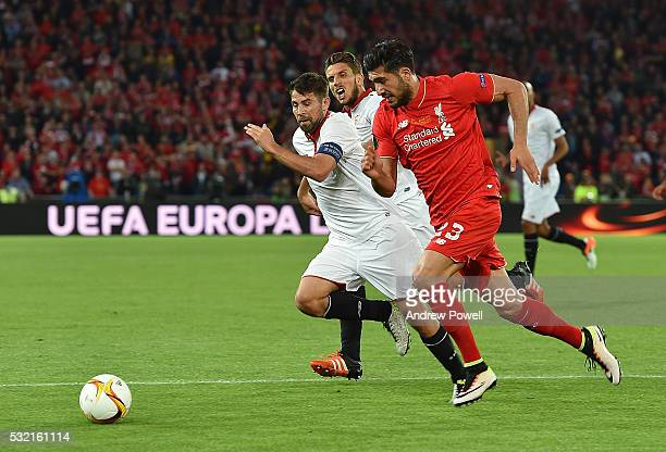 Emre Can of Liverpool competes with Coke of Sevilla during the UEFA Europa League Final match between Liverpool and Sevilla at St JakobPark on May 18...