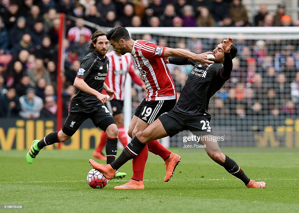 Emre Can of Liverpool competes with Graziano Pelle of Southampton during the Barclays Premier League match between Southampton and Liverpool at St Mary's Stadium on March 20, 2016 in Southampton, United Kingdom.