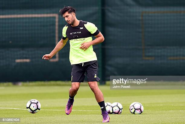 Emre Can of Liverpool during a training session at Melwood Training Ground on September 28 2016 in Liverpool England