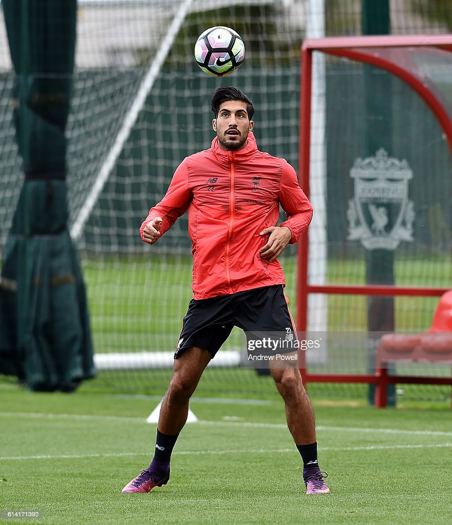 Emre Can of Liverpool during a training session at Melwood Training Ground on October 12, 2016 in Liverpool, England.