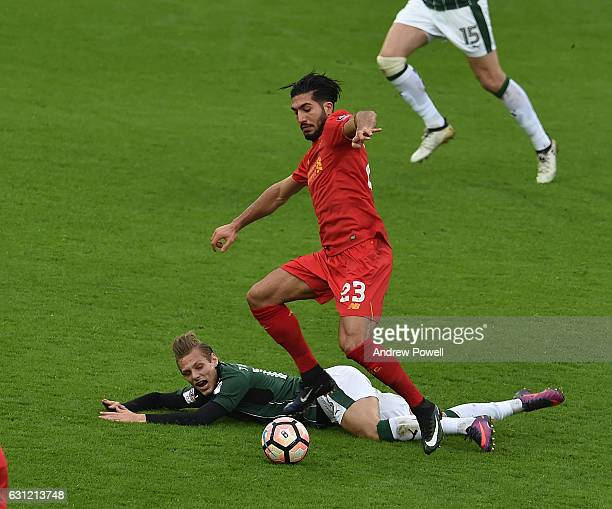 Emre Can of Liverpool during the Emirates FA Cup Third Round match between Liverpool and Plymouth Argyle at Anfield on January 8 2017 in Liverpool...