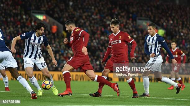 Emre Can of Liverpool during the Premier League match between Liverpool and West Bromwich Albion at Anfield on December 13 2017 in Liverpool England