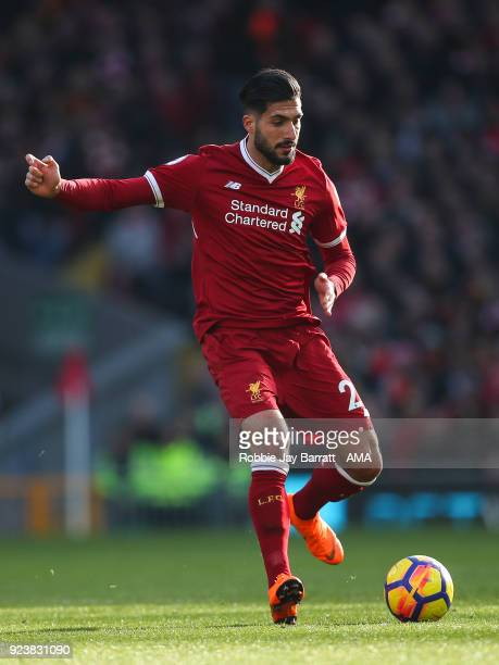 Emre Can of Liverpool during the Premier League match between Liverpool and West Ham United at Anfield on February 24 2018 in Liverpool England