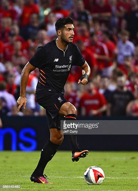 Emre Can of Liverpool FC handles the ball against AS Roma during a friendly match at Busch Stadium on August 1 2016 in St Louis Missouri AC Roma won...