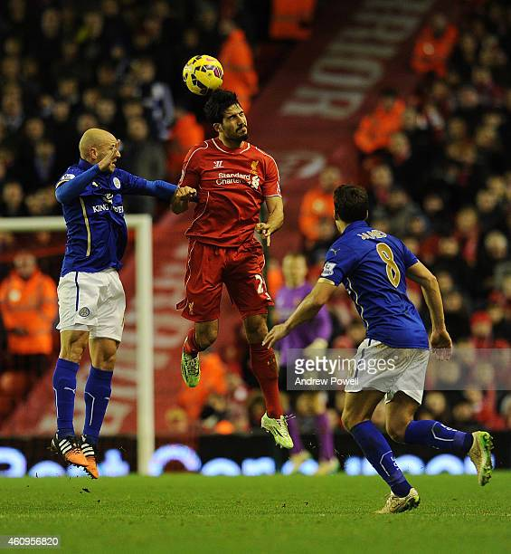 Emre Can of Liverpool goes up for the header during the Barclays Premier League Match between Liverpool and Leicester City at Anfield on January 1...