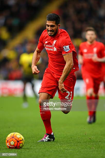 Emre Can of Liverpool in action during the Barclays Premier League match between Watford and Liverpool at Vicarage Road on December 20 2015 in...
