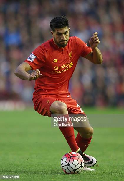 Emre Can of Liverpool in action during the Barclays Premier League match between Liverpool and Chelsea at Anfield on May 11 2016 in Liverpool England