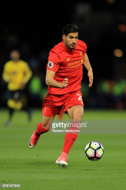 Emre Can of Liverpool in action during the Premier League match between Watford and Liverpool at Vicarage Road on May 01 2017 in Watford England