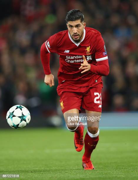 Emre Can of Liverpool in action during the UEFA Champions League group E match between Liverpool FC and Spartak Moskva at Anfield on December 6 2017...