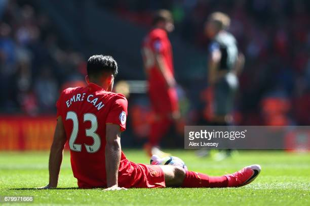 Emre Can of Liverpool reacts after the Premier League match between Liverpool and Southampton at Anfield on May 7 2017 in Liverpool England