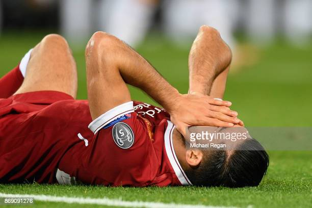 Emre Can of Liverpool reacts during the UEFA Champions League group E match between Liverpool FC and NK Maribor at Anfield on November 1 2017 in...