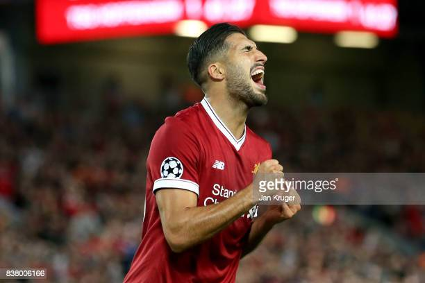 Emre Can of Liverpool reacts during the UEFA Champions League Qualifying PlayOffs round second leg match between Liverpool FC and 1899 Hoffenheim at...