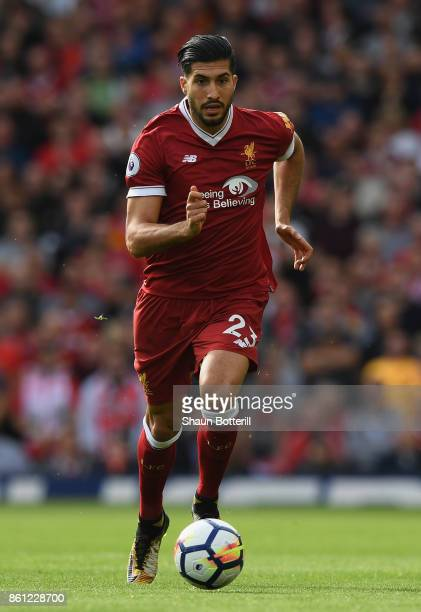 Emre Can of Liverpool runs with the ball during the Premier League match between Liverpool and Manchester United at Anfield on October 14 2017 in...