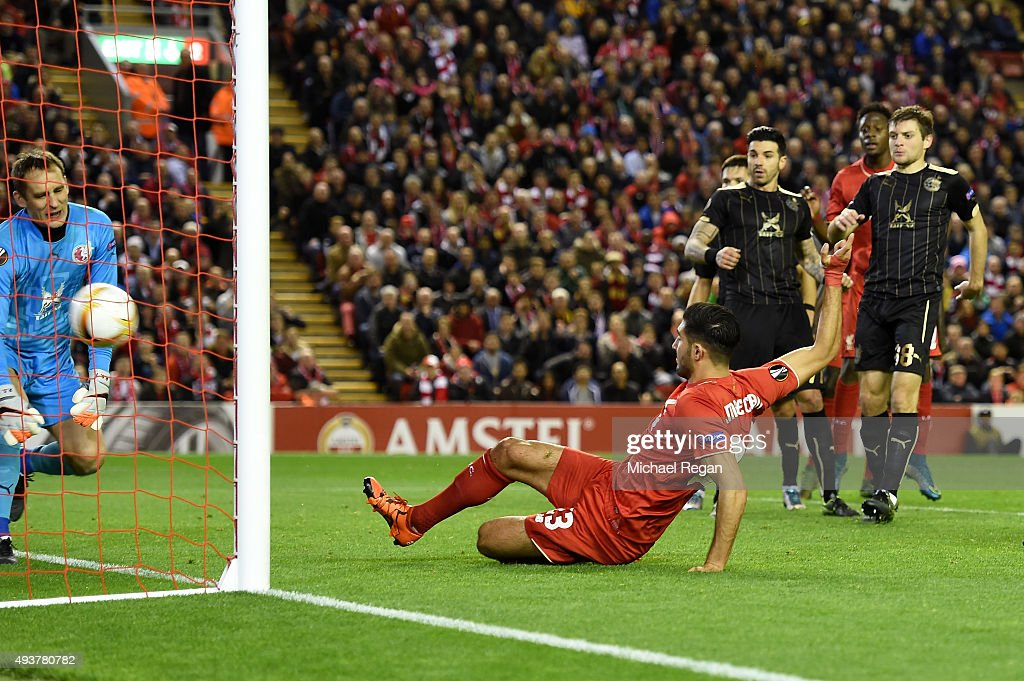 Emre Can of Liverpool scores a goal to level the scores at 1-1 during the UEFA Europa League Group B match between Liverpool FC and Rubin Kazan at Anfield on October 22, 2015 in Liverpool, United Kingdom.
