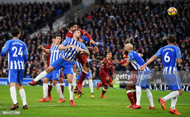 Emre Can of Liverpool scores his sides first goal during the Premier League match between Brighton and Hove Albion and Liverpool at Amex Stadium on...