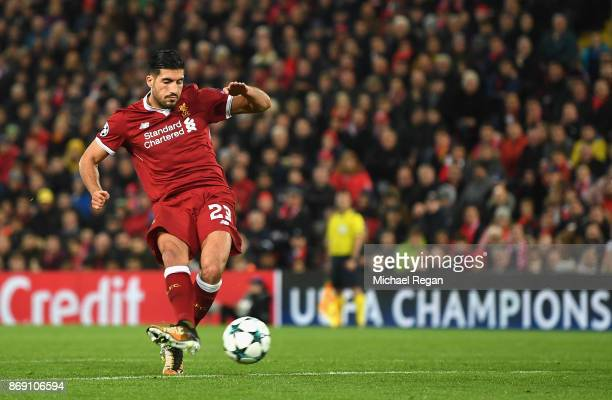 Emre Can of Liverpool scores his sides second goal during the UEFA Champions League group E match between Liverpool FC and NK Maribor at Anfield on...