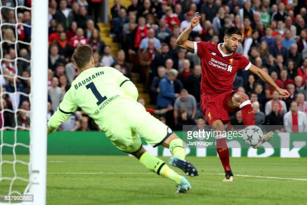 Emre Can of Liverpool scores his sides third goal during the UEFA Champions League Qualifying PlayOffs round second leg match between Liverpool FC...