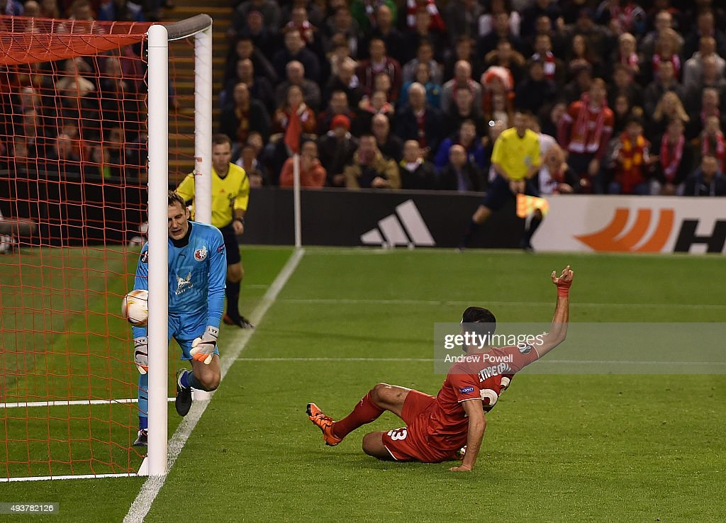 Emre Can of Liverpool scores the first Liverpool goal during the UEFA Europa League match between Liverpool FC and FC Rubin Kazan on October 22, 2015 in Liverpool, United Kingdom.