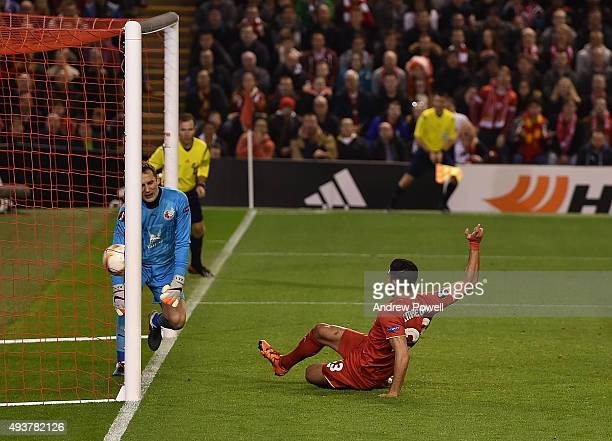 Emre Can of Liverpool scores the first Liverpool goal during the UEFA Europa League match between Liverpool FC and FC Rubin Kazan on October 22 2015...
