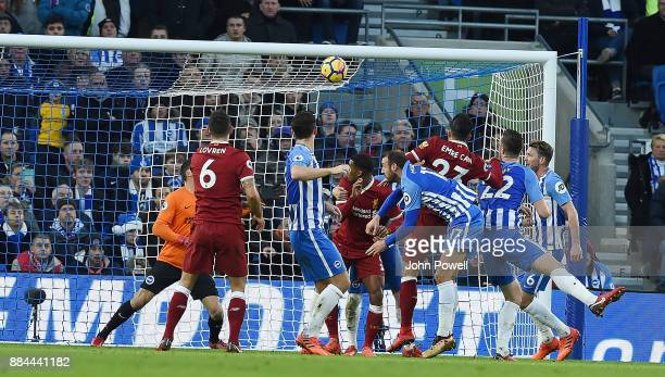 Emre Can of Liverpool Scores the opener for Liverpool during the Premier League match between Brighton and Hove Albion and Liverpool at Amex Stadium...